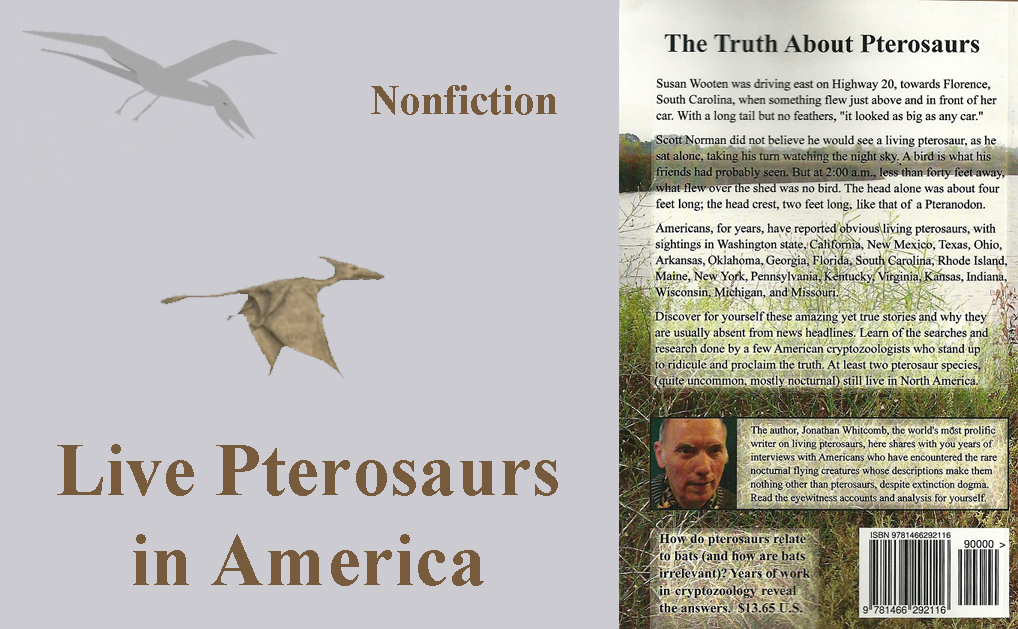 "Back cover of nonfiction book ""Live Pterosaurs in America"" with two more images"