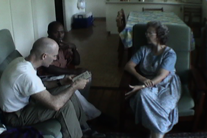 Baptist minister Jacob Kepas being interviewed in Lae, Papua New Guinea