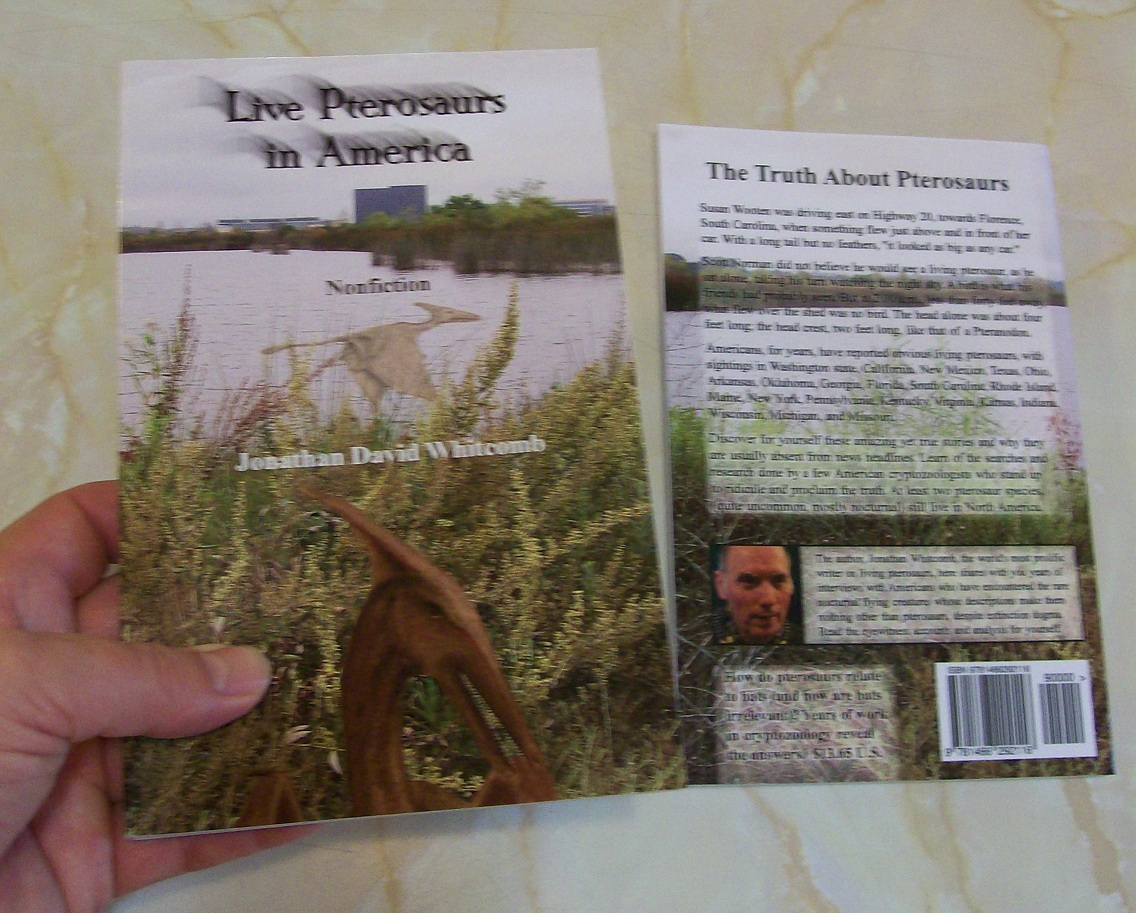 Cover, back and front, of Live Pterosaurs in America - nonfiction book