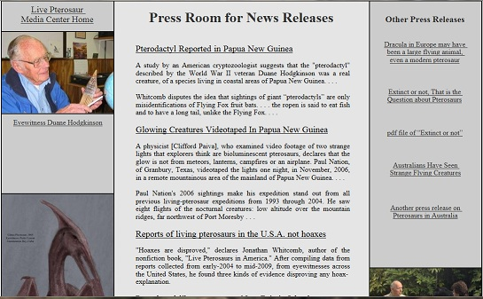 press releases about modern living pterosaurs