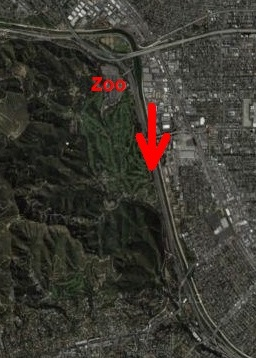 "satellite image of sighting location of three ""dragons"" just east of Griffith Park, Los Angeles, California, early in 2013"