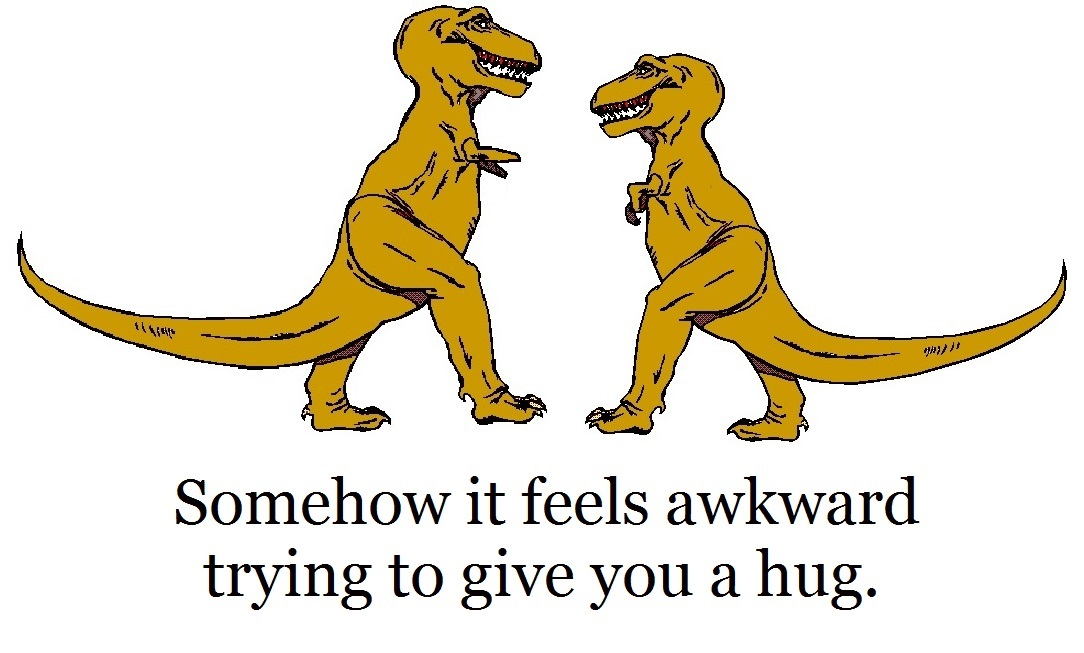hug feels awkward between two T-Rex friends