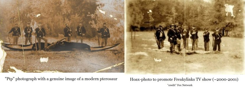 The left photo is genuine; the right one is a hoax