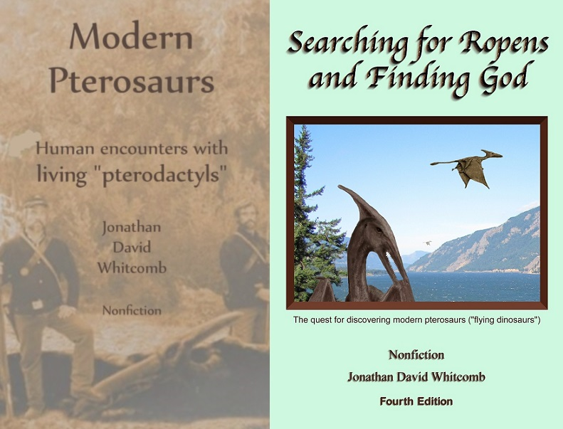 side-by-side front covers of two cryptozoology books by Whitcomb